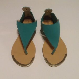 BAMBOO Macalen-16 Turquoise Gold rim Sandals